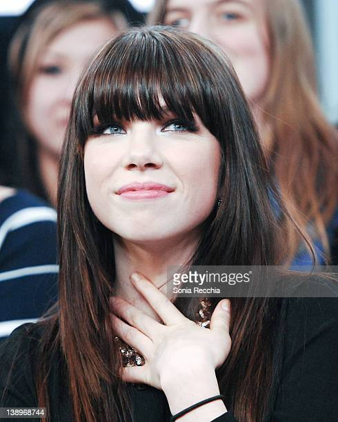 Carly Rae Jepsen visits MuchMusic Headquarters on February 14 2012 in Toronto Canada