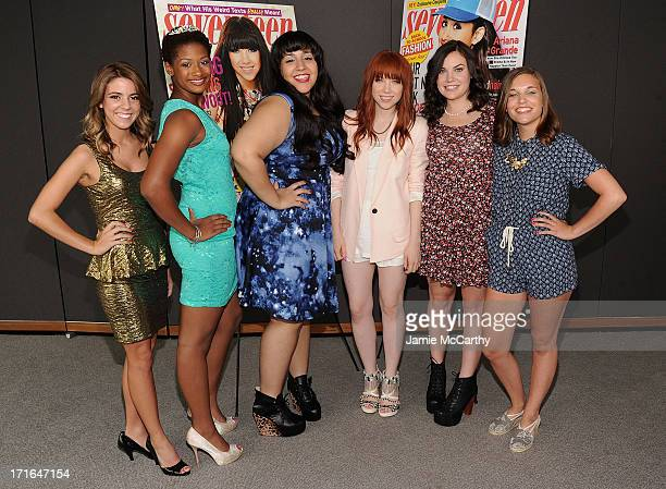 Carly Rae Jepsen with Pretty Amazing Finalists Paige Rawl KayCi Bele Ant RomanStacey Ferreira and Paige McKenzie attend Seventeen Magazine Luncheon...