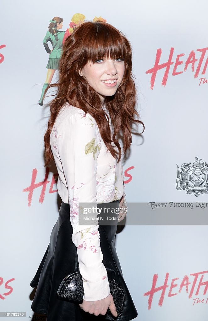 Carly Rae Jepson attends the off Broadway opening night of 'Heathers The Musical' at New World Stages on March 31, 2014 in New York City.