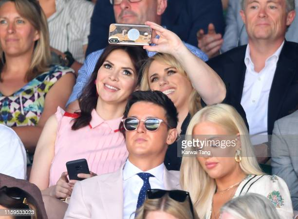 Carly Steel and Rebel Wilson attend day one of the Wimbledon Tennis Championships at All England Lawn Tennis and Croquet Club on July 01 2019 in...