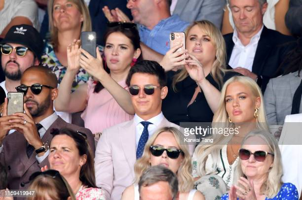 Carly Steel Rebel Wilson front row Marvin Humes Sam Prince and Lottie Tomlinson attend day 1 of the Wimbledon Tennis Championships at the All England...