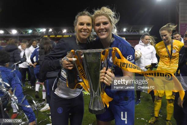 Carly Telford and Millie Bright of Chelsea with the cup during the FA Women's Continental League Cup Final Chelsea FC Women and Arsenal FC Women at...