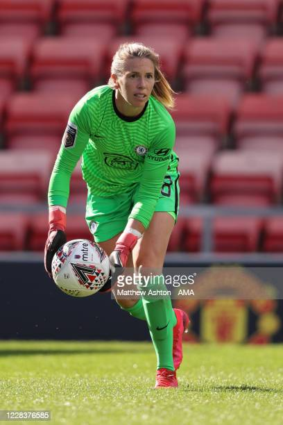 Carly Telford of Chelsea during the Barclays FA Women's Super League fixture between Manchester United Women and Chelsea Women at Leigh Sports...