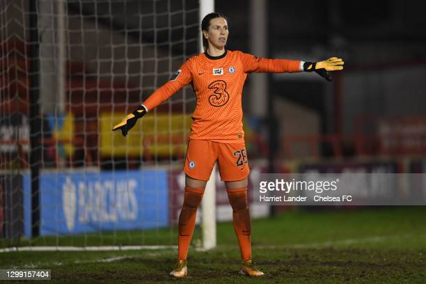 Carly Telford of Chelsea gives her team instructions during the Barclays FA Women's Super League match between Aston Villa Women and Chelsea Women at...