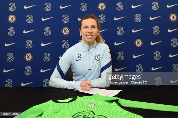 Carly Telford of Chelsea poses for a photograph as she signs a Contract Extension with Chelsea FC Women at Chelsea Training Ground on February 17,...