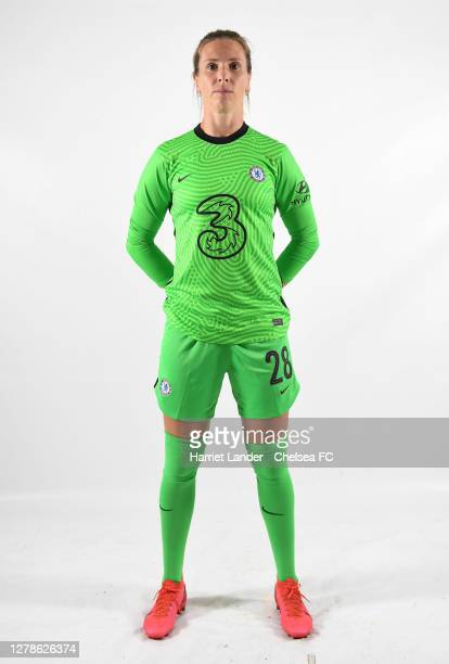 Carly Telford of Chelsea poses for a portrait during a Chelsea FC Women's Photocall at Chelsea Training Ground on October 05, 2020 in Cobham, England.