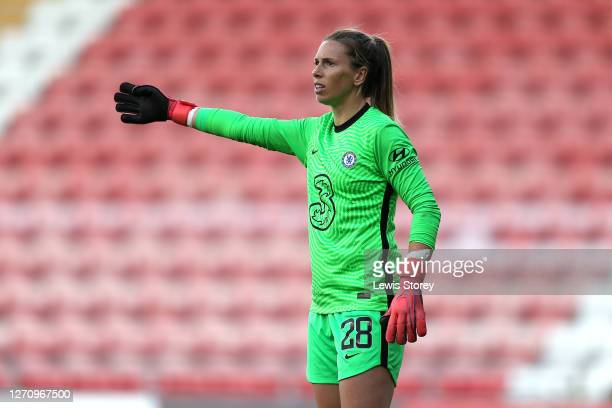 Carly Telford of Chelsea reacts during the Barclays FA Women's Super League match between Manchester United and Chelsea at Leigh Sports Village on...