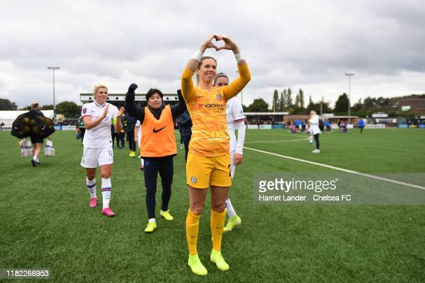 Carly Telford of Chelsea shows appreciation to the fans after the Continental Tyres Cup Group D match between Crystal Palace Women and Chelsea Women...