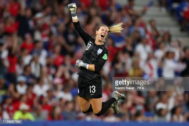 Carly Telford of England celebrates after her team's first goal during the 2019 FIFA Women's World Cup France Semi Final match between England and...