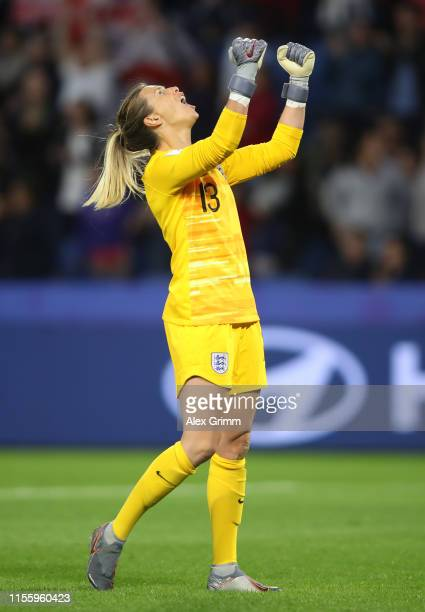Carly Telford of England celebrates after teammate Jodie Taylor scores their team's first goal during the 2019 FIFA Women's World Cup France group D...