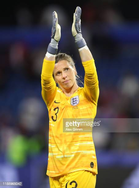 Carly Telford of England celebrates following her sides victory in the 2019 FIFA Women's World Cup France group D match between England and Argentina...