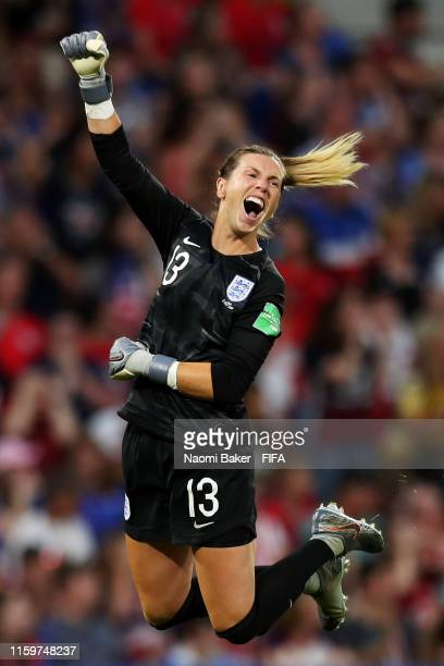 Carly Telford of England celebrates her sides first goal during the 2019 FIFA Women's World Cup France Semi Final match between England and USA at...