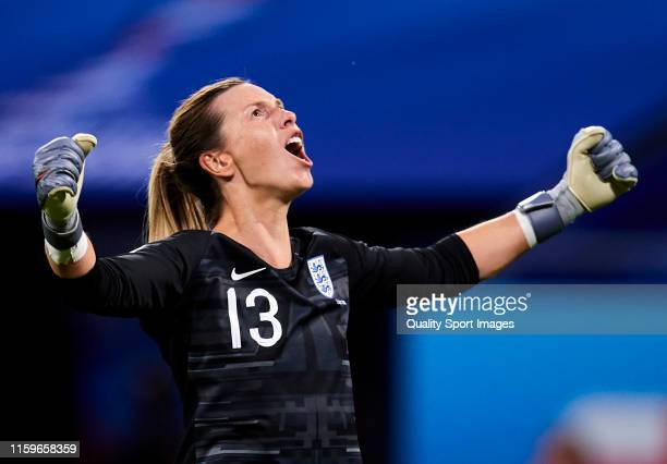 Carly Telford of England celebrates their team's first goal during the 2019 FIFA Women's World Cup France Semi Final match between England and USA at...
