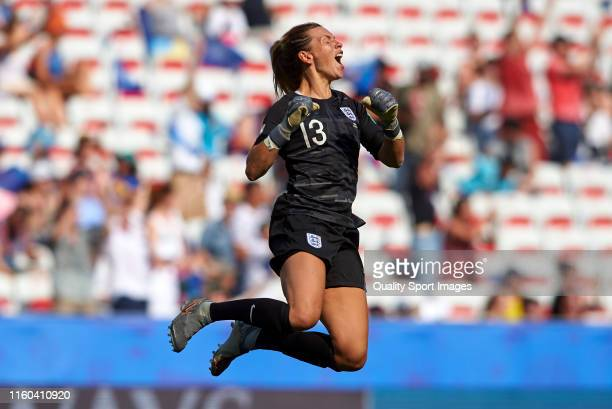 Carly Telford of England celebrates their team's first goal scored by teammate Fran Kirby during the 2019 FIFA Women's World Cup France 3rd Place...