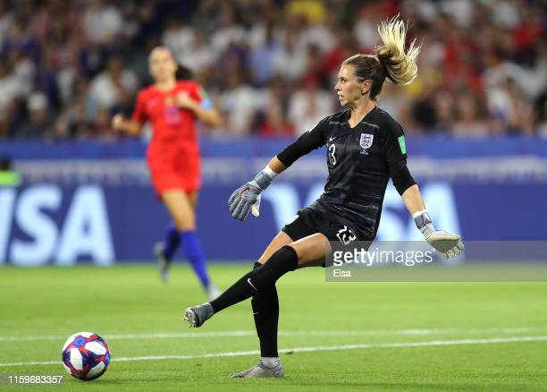 Carly Telford of England in action during the 2019 FIFA Women's World Cup France Semi Final match between England and USA at Stade de Lyon on July 02...
