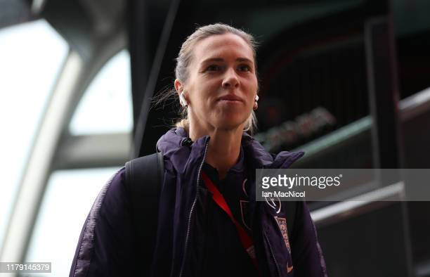 Carly Telford of England is seen ahead of the International friendly match between England and Brazil at Riverside Stadium on October 05, 2019 in...