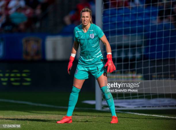 Carly Telford of England looks to the ball during a game between England and Spain at Toyota Stadium on March 11, 2020 in Frisco, Texas.