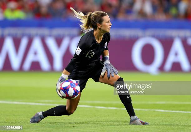 Carly Telford of England releases the ball during the 2019 FIFA Women's World Cup France Semi Final match between England and USA at Stade de Lyon on...