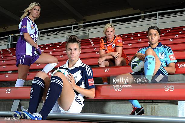 Carly Telford of the Glory, Stephanie Catley of the Victory Elise Kellond-Knight of the Roar and Samantha Kerr Sydney FC pose during the W-League FFA...