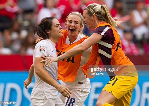 Carly Telford Siobhan Chamberlain and Toni Duggan of England celebrate after defeating Canada during the FIFA Women's World Cup Canada 2015 Quarter...