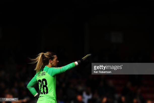 Carly Telford the Chelsea Women's goalkeeper in action during the WSL match between Chelsea Women and West Ham United Women at Kingsmeadow on March...