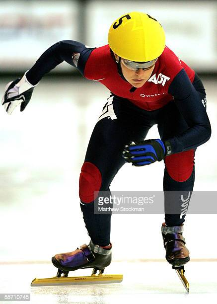 Carly Wilson competes in the 500 meter event during the ADT American Cup I on September 17 2005 at the Greenheck Field House in Schofield Wisconsin