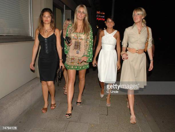 Carly Zucker and Alex Curran and Lisa Roughead at the England Players Wives and Girlfriends Enjoy a Night Out at Restaurant and Local Bar June 29...