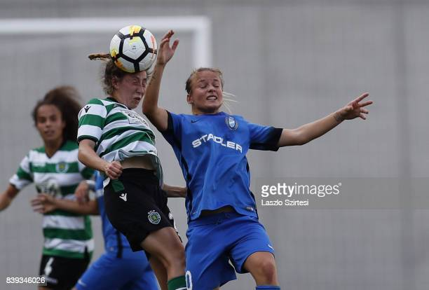 Carlyn Baldwin of Sporting CP and Diana Csanyi of MTK Hungaria FC in action during the UEFA Women's Champions League Qualifying match between...