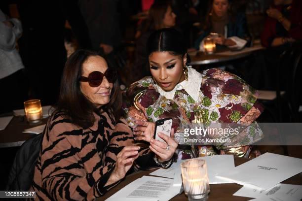 Carlyne Cerf de Dudzeele and Nicki Minaj attend the Marc Jacobs Fall 2020 runway show during New York Fashion Week on February 12 2020 in New York...