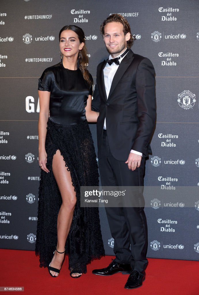 Carly-Rae Fleur and Daley Blind attend the United for Unicef Gala Dinner at Old Trafford on November 15, 2017 in Manchester, England.
