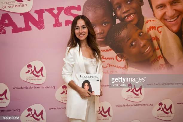 Carme Barcelo posses during a photocall for 'Los Crimenes de la Belleza charity book presentation at Llibreria Bernat on June 21 2017 in Barcelona...