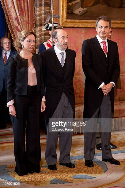 Carme Chacon Alfredo Perez Rubalcaba and Presidente Jose Luis Rodriguez Zapatero attend the Pascua Military ceremony at Royal Palace on January 6...