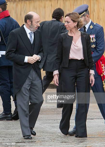 Carme Chacon and Alfredo Perez Rubalcaba attend the Pascua Military ceremony at Royal Palace on January 6 2011 in Madrid Spain
