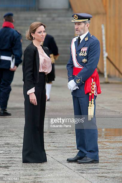 Carme Chacon and JEMAD Julio Jose Rodriguez attend the Pascua Militar ceremony at Royal Palace on January 6 2011 in Madrid Spain