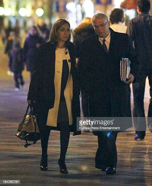 Carme Chacon and Josep Borrell are seen on March 11 2013 in Madrid Spain