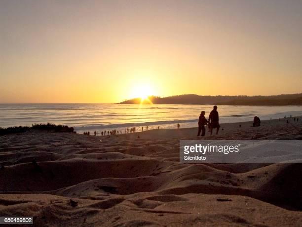 Carmel Beach As Sun Sets on Horizon