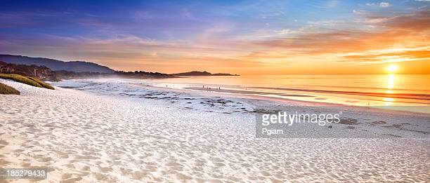 carmel beach panoramic in carmel-by-the-sea - monterrey stock pictures, royalty-free photos & images