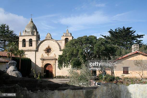 carmel mission courtyard - carmel california stock photos and pictures