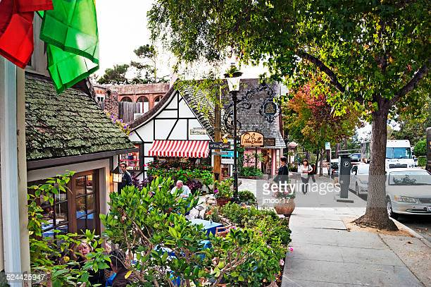 carmel shops and dining - carmel california stock photos and pictures