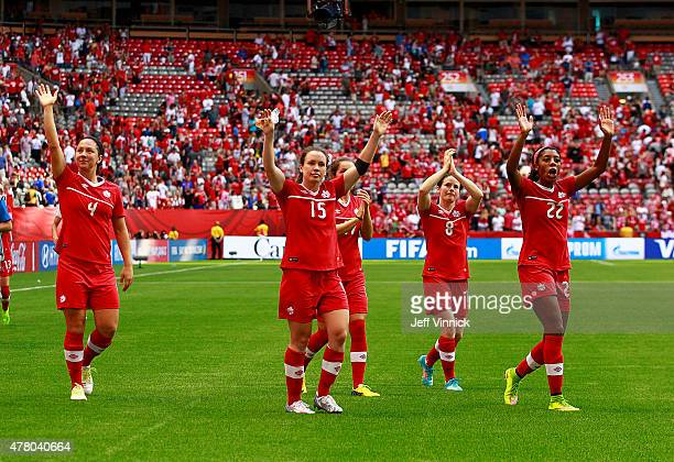 Carmelina Moscato Allysha Chapman Jessie Fleming Diana Matheson and Ashley Lawrence of Canada wave to the fans after their win at the FIFA Women's...