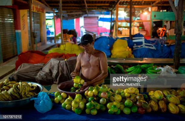 Carmelio Silva fruit seller prepares his basket at a local market in the city of Tefe about 500 km west of Manaus capital of the state of Amazonas...