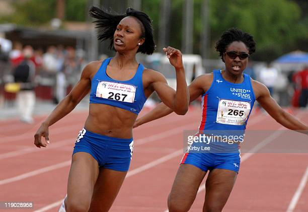 Carmelita Jeter left won the women's invitational 100 meters in 1116 in the 49th Mt San Antonio College Relays at Hilmer Lodge Stadium in Walnut...