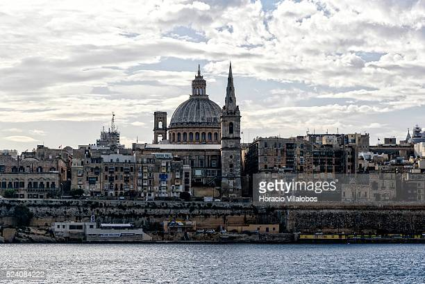 Carmelite Church dome and city's skyline, seen from Sliema ferry, in Valletta, Malta, 20 October 2015. Tourism is a major component of the Maltese...