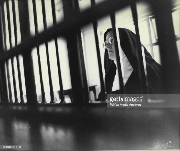 Carmelite nuns at Dulwich hill...Mother Elias, a cloistered nun behind her bars. May 03, 1983. .