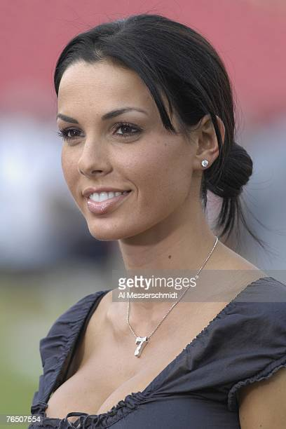 Carmella DeCesare wife of quarterback Jeff Garcia of the Tampa Bay Buccaneers watches warmups before play against the Houston Texans in a preseason...