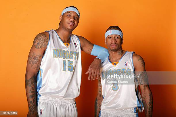 Carmelo Anthony and Allen Iverson of the Denver Nuggets pose for a photo on March 29 2007 at the Pepsi Center in Denver Colorado NOTE TO USER User...