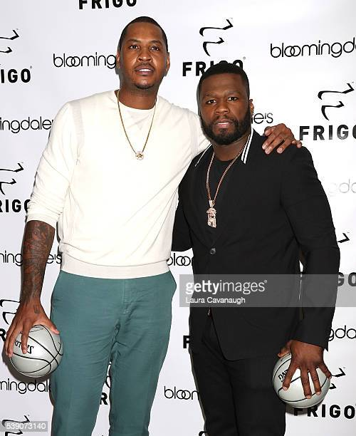 Carmelo Anthony and 50 Cent attend the Celebration of the New FRIGO Collection at Bloomingdale's 59th Street Store on June 9 2016 in New York City