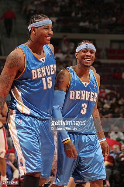 Carmelo Anthony and Allen Iverson of the Denver Nuggets during a game against the Detroit Piston on March 26 2006 at the Palace of Auburn Hills in...