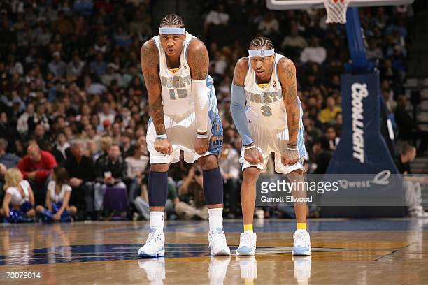Carmelo Anthony and Allen Iverson of the Denver Nuggets during the game against the Memphis Grizzlies on January 22 2007 at the Pepsi Center in...