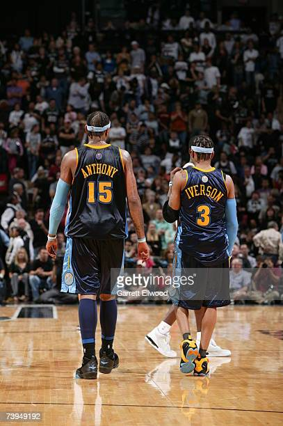 Carmelo Anthony and Allen Iverson of the Denver Nuggets during the game against the San Antonio Spurs in Game One of the Western Conference...